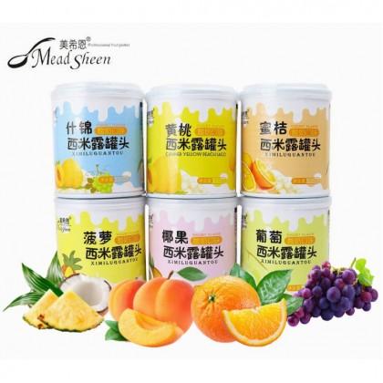 美希恩 酸奶口味 西米露罐头 黄桃 什锦 葡萄 椰果 菠萝 蜜桔 Mead Sheen Yogurt Flavor Yellow Peach Mixed Fruits Grape Coconut Pineapple Sago 312g